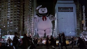 "The Ghostbusters had to use the forbidden ""cross the streams,"" technique in a moment of desperation to defeat the summoned monster. (Incidentally, the Stay Puft Marshmallow Man is the result of combining the Pillsbury Doughboy and the Michelin tire man.)"